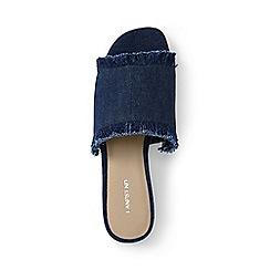 Lands' End - Blue regular fringed slide sandals