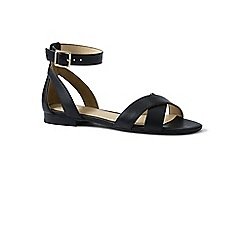 Lands' End - Black regular ankle strap sandals