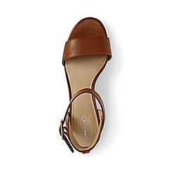 Lands' End - Beige regular block heel leather sandals