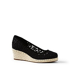 Lands' End - Black lace espadrille wedge shoes