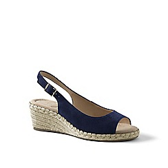 Lands' End - Blue suede espadrille wedge sandals