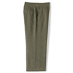 Lands' End - Green regular linen wide leg crop trousers