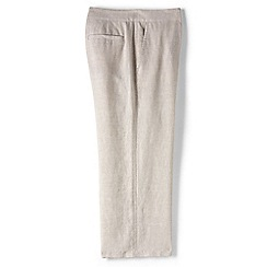 Lands' End - Beige petite linen wide leg crop trousers
