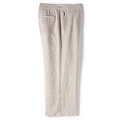Lands' End - Beige plus linen wide leg crop trousers