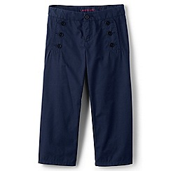 Lands' End - Girls' blue cropped sailor trousers