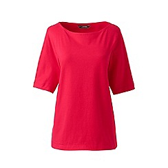 Lands' End - Pink petite elbow sleeve jersey top