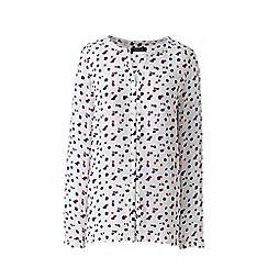 Lands' End - Purple print button front blouse