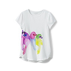 Lands' End - Girls' white girls a-line graphic tee