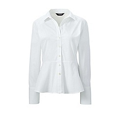 Lands' End - White stretch cotton peplum blouse
