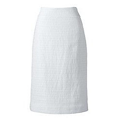 Lands' End - White woven textured pencil skirt