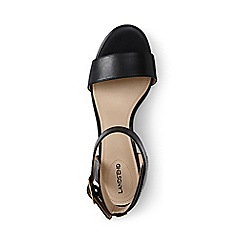 Lands' End - Black regular block heel leather sandals