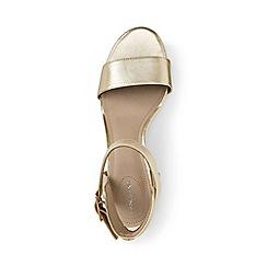 Lands' End - Gold regular block heel leather sandals