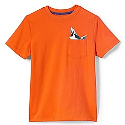 Lands' End - Boys' orange graphic pocket tee