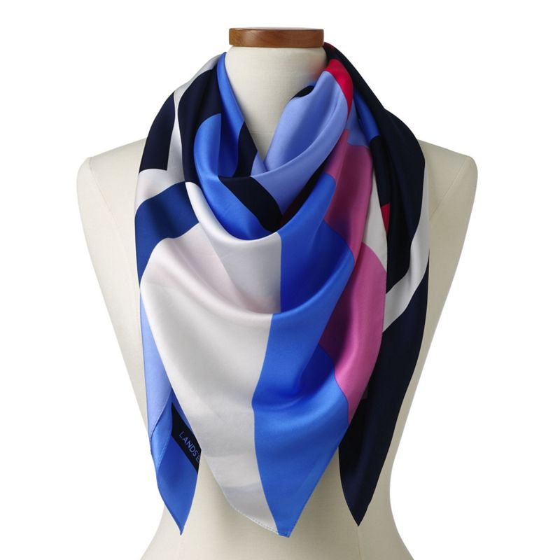 Lands' End Blue stripe silk square scarf