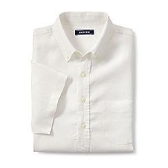 Lands' End - Cream regular short sleeve popover linen shirt