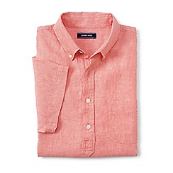 Lands' End - Orange regular short sleeve popover linen shirt