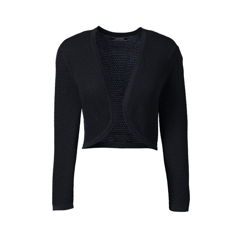Lands End Black plus supima pointelle bolero