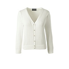 Lands' End - White regular supima 3-quarter sleeves dress cardigan