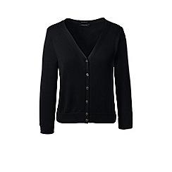 Lands' End - Black regular supima 3-quarter sleeves dress cardigan