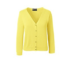 Lands' End - Yellow regular supima 3-quarter sleeves dress cardigan