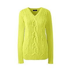 Lands' End - Green drifter cable v-neck sweater