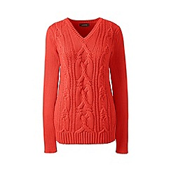 Lands' End - Orange drifter cable v-neck sweater