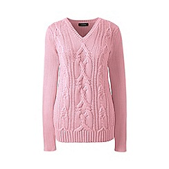 Lands' End - Pink drifter cable v-neck sweater