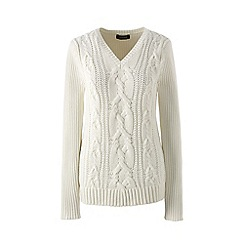 Lands' End - Cream drifter cable v-neck sweater
