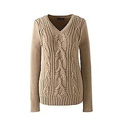 Lands' End - Beige drifter cable v-neck sweater