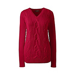 Lands' End - Red drifter cable v-neck sweater