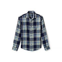 Lands' End - Blue plaid long sleeve linen shirt