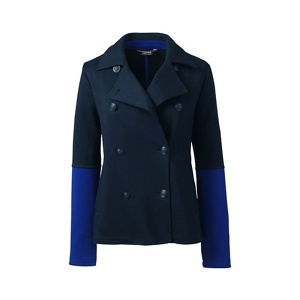 Lands' End Blue regular jacquard jersey pea coat