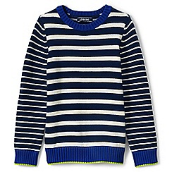 Lands' End - Boys' blue mixed stripe cotton jumper