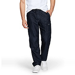Lands' End - Blue regular linen/cotton cargo trousers