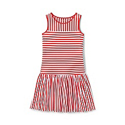 Lands' End - Girls' red drop waist striped jersey dress