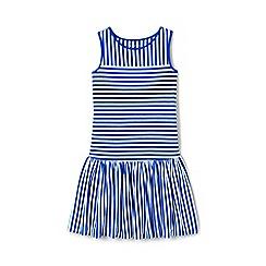 Lands' End - Girls' blue drop waist striped jersey dress
