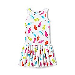 Lands' End - Girls' white drop waist sleeveless jersey dress