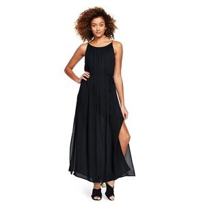 Lands' End Black silk georgette maxi dress