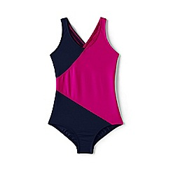 Lands' End - Blue smart swim colourblock swimsuit