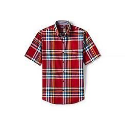 Lands' End - Red regular short sleeve madras shirt