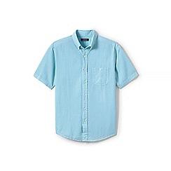 Lands' End - Green regular short sleeve seersucker shirt