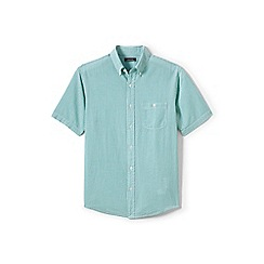 Lands' End - Green regular short sleeve seersucker shirt