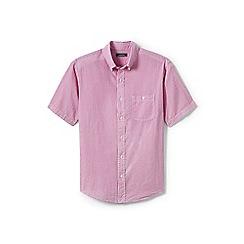 Lands' End - Pink regular short sleeve seersucker shirt