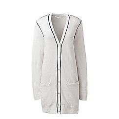 Lands' End - White regular linen/cotton piped cardigan