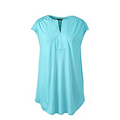 Lands' End - Blue plus cap sleeves shirred split neck tunic