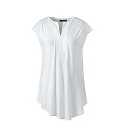 Lands' End - White plus cap sleeves shirred split neck tunic