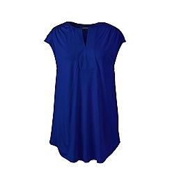 Lands' End - Blue plus cap sleeves shirred split neck tunic
