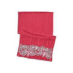 Lands' End - Red embroidered floral scarf