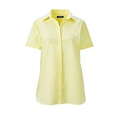 Lands' End - Yellow regular print supima cotton non-iron camp shirt