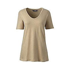 Lands' End - Brown petite metallic pocket t-shirt